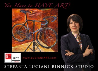 Stefania Luciani Binnick w Bicycle Painting post card